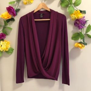 Forever 21 Purple Open Front Wrap Top/ Blouse